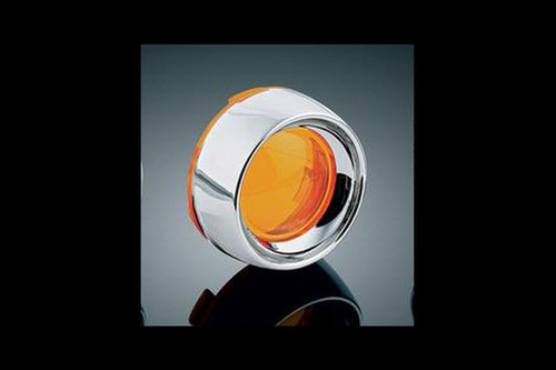 Kuryakyn Deep Dish Bezels with Lenses for '00-Up H-D Models with Bullet Turn Signals -Amber (pr)