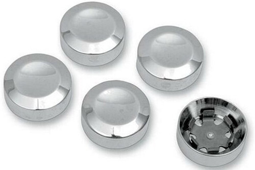 Drag Specialties Rear Pulley Bolt Covers for '93-12 FXST/FLST, '93-12 FXD/FXDWG & '99-12 FLT/FLHT & '04-12 XL -Chrome
