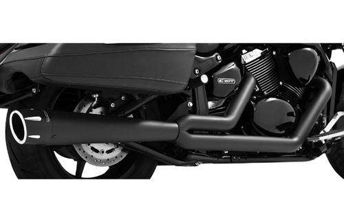 Freedom Performance Combat Outlaws 2-Into-1 Exhaust for  '02-08 VTX1800C/F/R/N    -Black w/ Black Tip