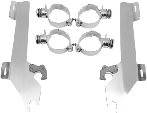 Memphis  Shades  Batwing Windshield Mounting Kit for Hammer '05-13 & Kingpin '04-12-Polished FAIRING AND WINDSHIELD NOT INCLUDED