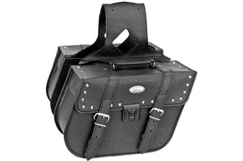 *CLEARANCE* River Road Rigid Zip-Off Saddlebags w/ Security Lock -Slant Studded