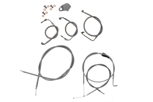 """L.A. Choppers Cable Kit for '96-06 FLSTC/FLSTN/FLSTF & '00-06 FXSTD for use with 12""""-14"""" Ape Hangers -Chrome"""
