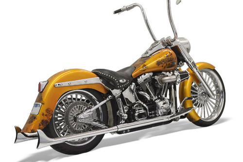 "Bassani True Dual Fishtail Exhaust System for '07-17 Softail 30""/33""/36"" 1-7/8"" Mufflers - Chrome No Baffles"