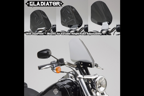 National Cycle Gladiator Windshield for FXDB '08-Up Light Tint w/ Bright Chrome Hardware