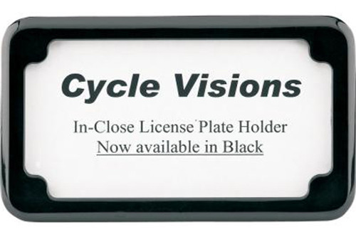 Cycle Visions Beveled License Plate Frame -Black Powder Coated with Plate Lights