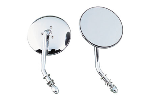 "Biker's Choice 4"" Round Mirrors for '65-11 H-D Models -Right, Chrome"