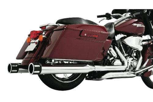 Freedom Performance Eagle Slip Ons for '95-Up FLH/FLT (Except '10-Up FLHX/FLTRX) - Chrome w/ Chrome End Cap (Shown with black end caps)