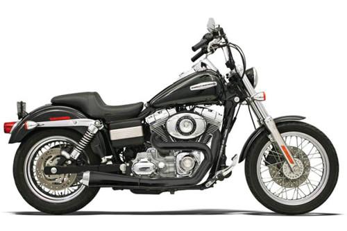 Bassani Road Rage 2-Into-1 System for Harley-Davidson FXD/FXDWG '91-17 - Black, Short Meg w/ Heat Shields