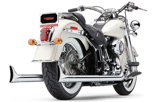 Cobra Bad Hombre True Duals With Fishtails for '07-11 Softail Models - Chrome
