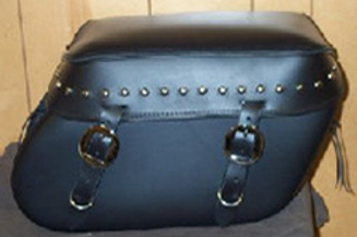Leather Pro 3000 Series Leather Saddlebags for HD Fat Boy w/ Stock Exhaust  -Studded Valence
