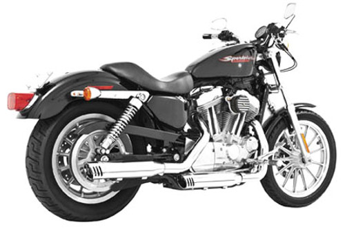 Freedom Performance Exhaust 3-1/4 inch Racing Slip Ons for '04-13 XL Models -Black w/ Black Tip (Shown in Chrome)