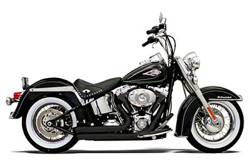 Bassani Exhaust  Firesweep Exhaust w/ Turnout Ends for '86-17 Softail Black
