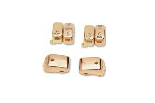 Drag Specialties 6-piece Switch Cap Kit for '96-13 H-D Models (Except '11-13 Softail & '12-13 Dyna) -Gold