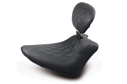 Mustang Wide Tripper Solo Seat for FXS Blackline & FLS Slim 2012-Up -w/ Driver Backrest -Diamond Stitch