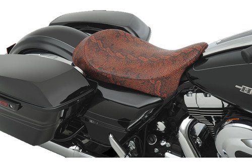 Drag Specialties Seats Low-Profile Solo Seat for Harley Davidson Touring Models 2008-Up -Red Faux Python