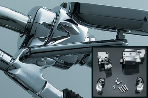 Kuryakyn Hand Control Chrome Dress-up/Cover Kit for Most Harleys w/ Single Disc