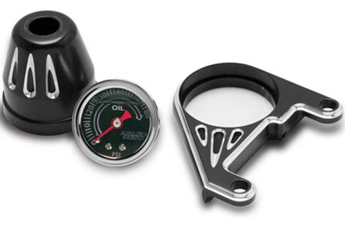 Arlen Ness Deep Cut Oil Pressure Gauge Kit for '99-17 Harley Davidson Twin Cam - Black
