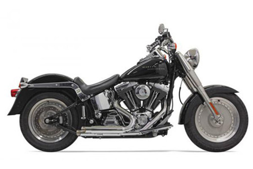 Bassani Pro Street Exhaust System for '86-17 Harley Davidson Softail - Chrome Slash Cut