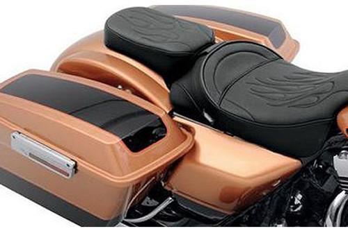 Drag Specialties Solo Rear/Pillion Seats for '97-Up FLHT/FLHR/FLTR/FLHX -Narrow, Flame Stitch