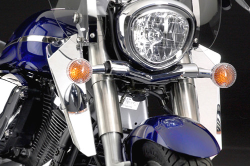 National Cycle Chrome Lowers for Softail Models with or without H-D Lightbar Installed w/ Switchblade Windshield (Click for fitment)