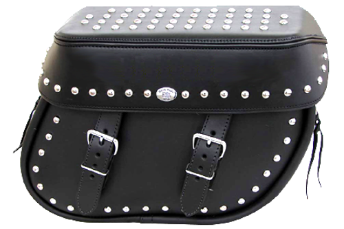 Boss Bags Close Fitting #40 Model Studded on Lid Top, Valence and Bag Body Softail Models