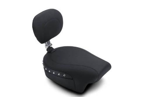 Mustang Seats Passenger Seat with Passenger Backrest for Harley Davidson Touring Models 1997-Up -Chrome Studs