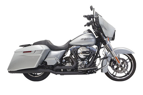 Bassani True-Dual Down Under System for '95-16 FLHT, FLHR, FLHX, FLTR Models w/ Straight Can Muffler  Black