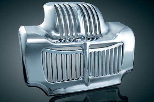Kuryakyn  Oil Cooler Cover  for Stock Oil Cooler on '11-'15 Electra Glides (except '14-'15 FLHTK, FLHTKL, FLHTKSE), Road Glides (except '15 FLTRUSE), Road Kings, Street Glides (except '15 FLHXSE), '11-'13 Trikes & '15 Freewheeler  -Chrome