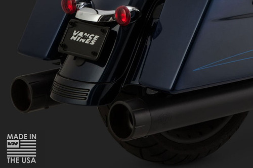 Vance & Hines OverSized 450 RAIDER Slip On Mufflers for '17-Up Harley Davidson Touring Models   -Black 4.5-inch Round with Black Fluted Tips