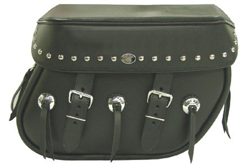 Boss Bags #38 Model Studded on Lid Only w/ Conchos on Bag Body for Harley Models