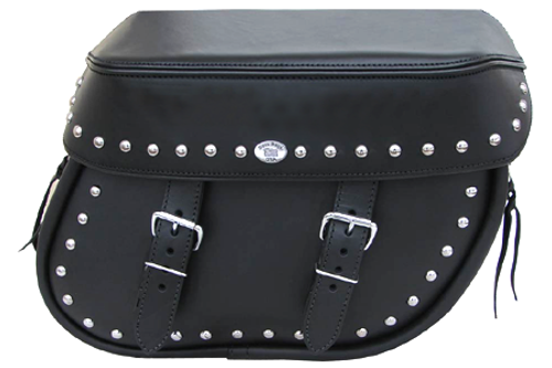 Boss Bags Close Fitting #40 Model Studded on Bag Body and Lid Valence for Softail Models