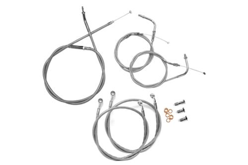 """Baron Stainless Handlebar Cable & Line Kit for V-Star 1100 Custom  '99-09 -18""""-20"""" Bars"""