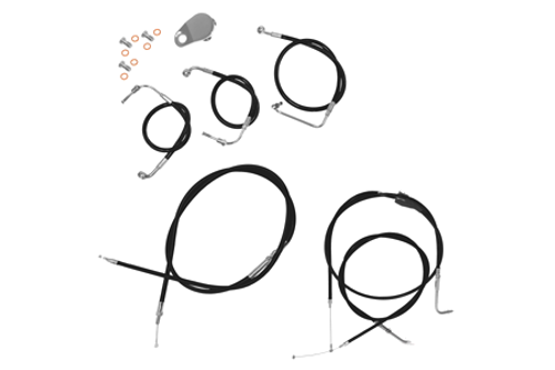 """L.A. Choppers Cable Kit for '07-10 FXST/FXSTB/FXSTC for use with 18""""-20"""" Ape Hangers -Black"""