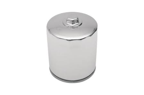 """Drag Specialties Spin On Oil Filter for '84-99 FLT; '84-94 FXR; '84-99 FXST/FLST; '86-11 XL; '09-11 XR1200 (3-1/4"""") Repl. OEM#'s 63796-77A, 63805-83 & 63805-80A -Chrome with Nut 1"""