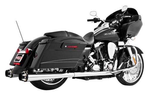 Freedom Performance Exhaust American Outlaw Dual System for '86-08 FLH/FLT -Chrome w/ Black Tip