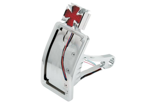 """Drag Specialties Side Mount LED Taillight/License Plate Mounts for '00-07 Softail -Axle Mount (¾""""-1""""), Curved Vertical, Maltese Cross"""