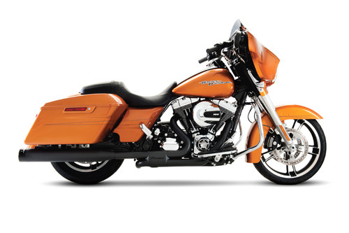 "Rinehart Slimline Duals Exhaust System for '09-Up FL Models -4"" Mufllers Black w/ Black End Caps"
