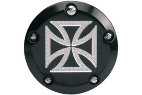 Accutronix  Points Cover  for '99-Up Twin Cam  -Maltese Cross, Black