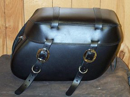 Leather Pro 3000 Series Leather Saddlebags for HD Fat Boy w/ Stock Exhaust  -Plain with Cargo Straps