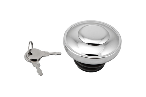 Hard Drive Gas Cap for '82-95 HD  -Screw in w/ Lock & Cover  Non-Vented, Chrome (each)