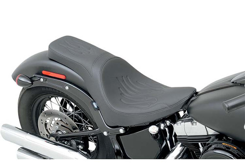 Drag Specialties Predator 2-Up Seat for '11-13 FXS & '12-15 FLS Models  -Flame Stitch