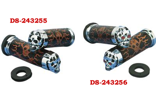 Drag Specialties Skull Grips for '84-11 FL Models (Except '08-11 Dressers & Air-Assisted Forks) With Red Eyes & Throttle Sleeve Is NOT Included
