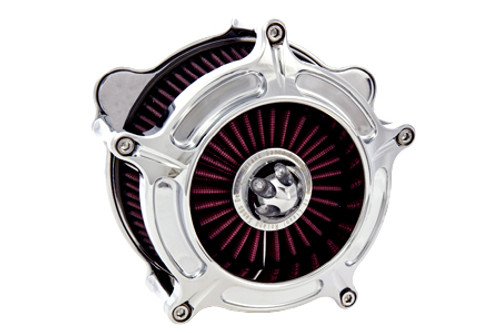 Roland Sands Design Turbine Air Cleaner for '93-06 Big Twin Models w/ stock CV Carb '01-15 Softail Models w/ Delphi EFI  '04-17 Dyna Glide w/ Delphi EFI & FLT Models '02-07 w/ Delphi EFI -Chrome
