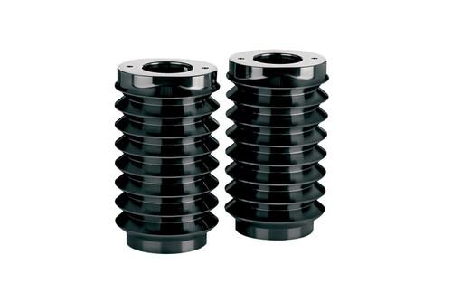Arlen Ness Fork Boot Covers for '14 FLHT/FLT/FLHX -Retro, Black Anodized