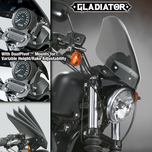 National Cycle Gladiator Windshield for XL 1200L '06-Up Light Tint w/ Wrinkle Black Hardware