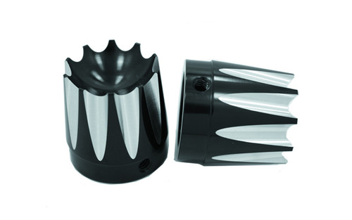 """Avon Axle Nut Covers for all H-D Models (except Touring) -Excalibur, Black-&#8542"""""""