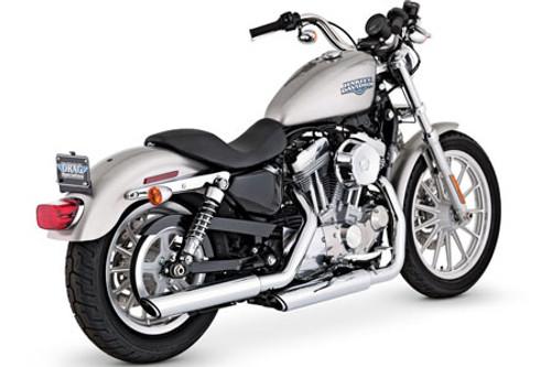 Vance & Hines Twin Slash Slip-Ons for Harley Davidson XL '04-13 -Chrome