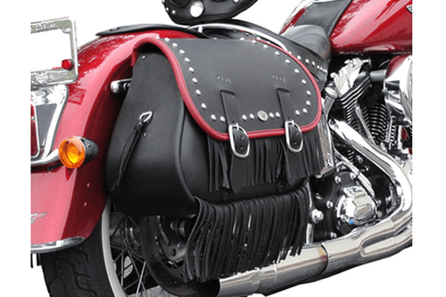 Boss Bags Close Fitting  #37 Model  Studded w/ Fringe (Red Trim Shown) for Softail Models