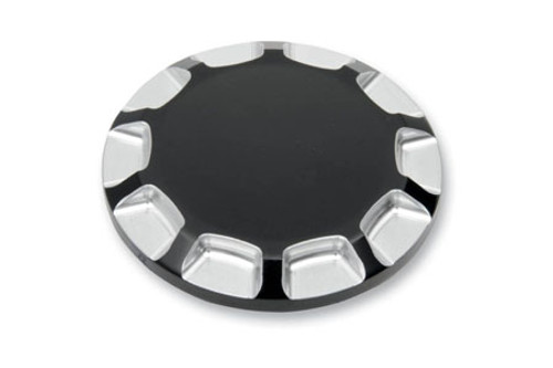 Carl Brouhard Designs Straight Cut Gas Caps for L96-12 H-D Models -Straight Cut-Gloss Black, Dummy Snap In