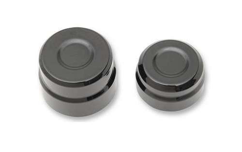 """Drag Specialties Billet Rear Axle Caps for '08-12 XL & '09-12  XR1200 models w/ 1 1/8"""" axle head & 1 1/4"""" axle nut -black"""